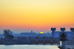 赤水門・日の出