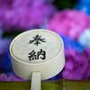 紫陽花のある手水鉢