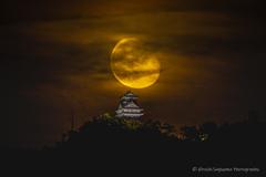 岐阜城と月(居待月)