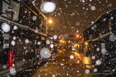 城下町の街並み(雪景色)