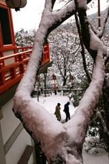 雪オブジェ*二人連れ*