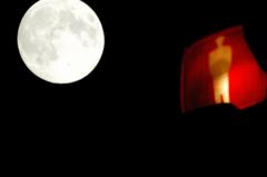 信号待ちの月見・・・