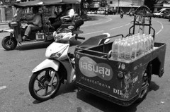 Side car, carrying mineral water
