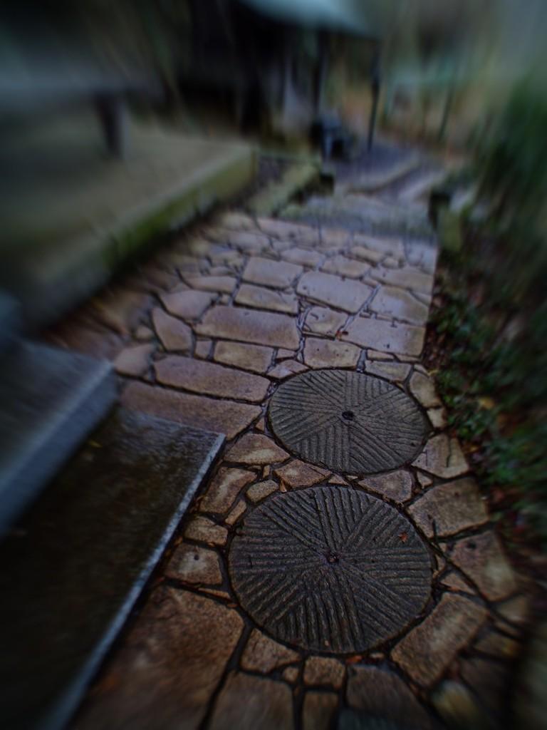 石臼が敷石に使われています