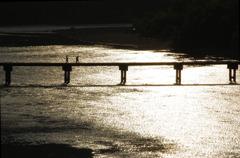 夕映えの沈下橋