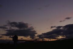 水門と夕焼け
