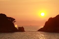 和歌浦、双子島の夕日