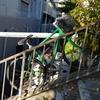 階段上の自転車