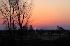 筑波嶺の朝日