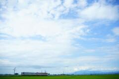 鳥海山は雲をかぶって