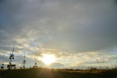 堺踏切で見た朝日
