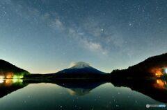 銀河と笠雲と富士