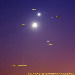 パンスターズ彗星と木星、金星、三日月、レグルスのニセ南十字