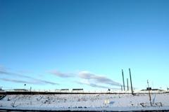 雪に染まる多摩川