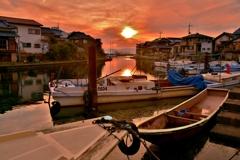 松原漁港の夕日