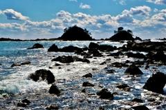 春光の岩礁
