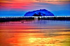 魞のある夕景 夕影