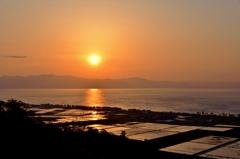 田水張る夕日