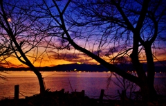 琵琶湖春黄昏