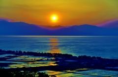 湖東の夕日