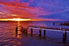 琵琶湖の冬夕景