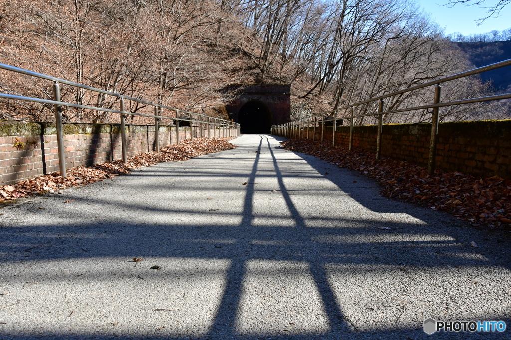 影になった線路