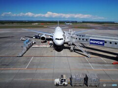青空の下の北空港