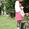 日差にピンクの自転車