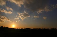 元旦、四谷からの夕陽