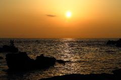 夕陽のアングラー