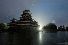 雨の国宝松本城