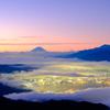 富士山と諏訪夜景