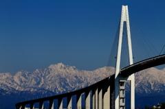 新湊大橋と剣岳