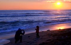 海辺のモデル撮影