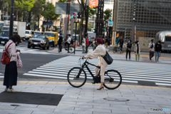 Strolling in Ginza is also on a bicycle♪