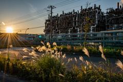 工場街の落陽