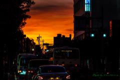 街角の夕焼け..
