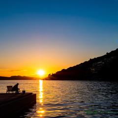 夕日と釣り人..