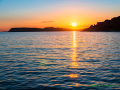 海の夕日..