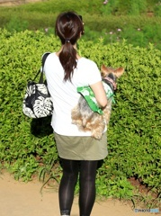 ☮シルバーウイークさくらの丘に来た、犬を抱いた女性