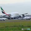 「☁」 Emirates  W A380 特別塗装ACミラン 着陸