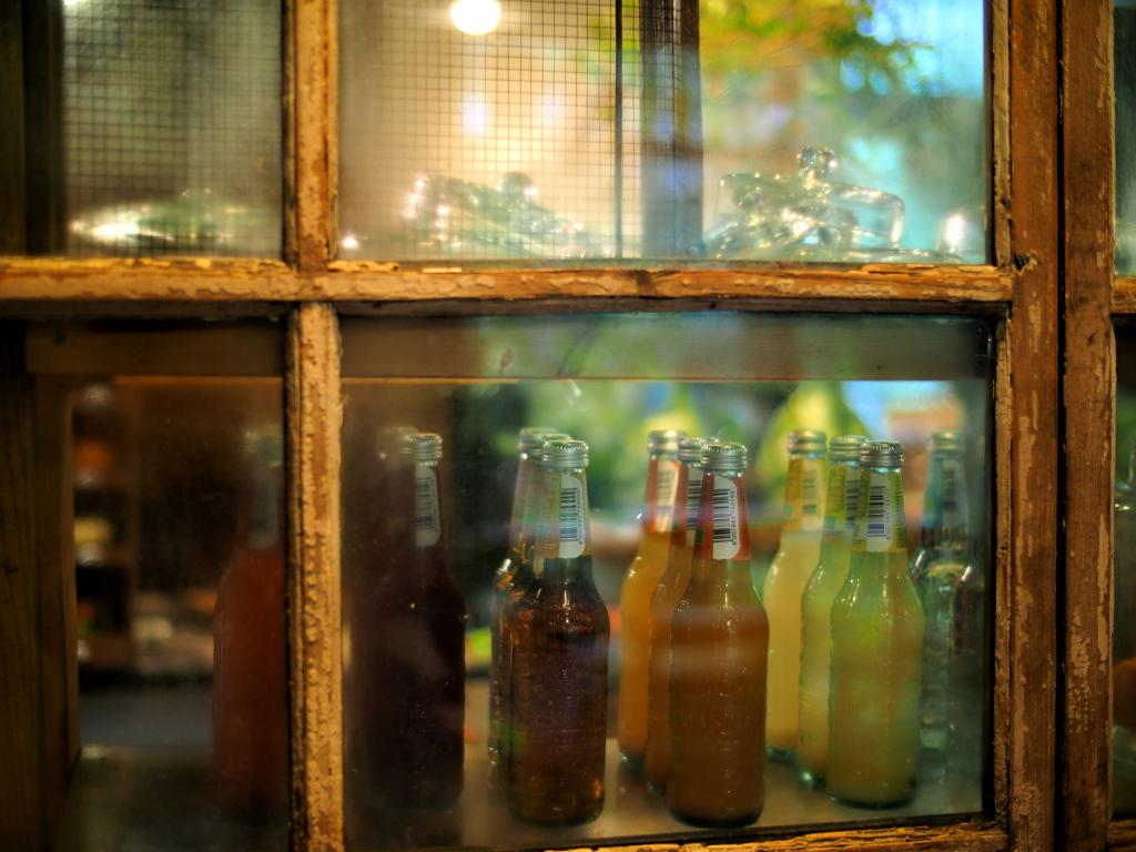 Bottle soda in the glass