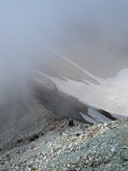 稜線と雪渓