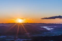 九十九谷展望公園からの日の出-2