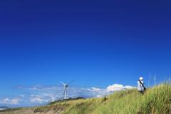 風車とカメラマン