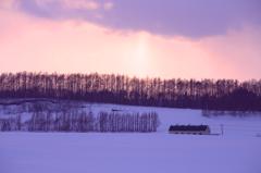 夕暮れる雪原