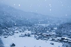 雪舞う白川郷