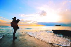 夕映の江ノ島を撮るを撮る