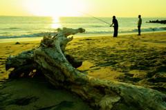 流木と釣り人