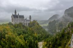 Neuschwanstein castle in the rain
